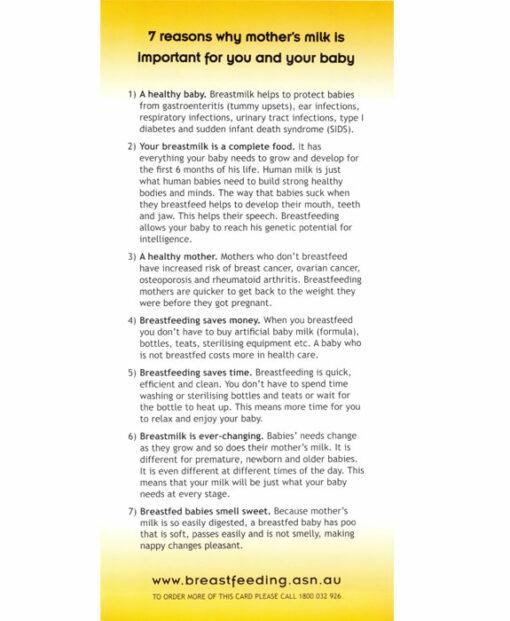 Breastfeeding Tip Card REasons Why
