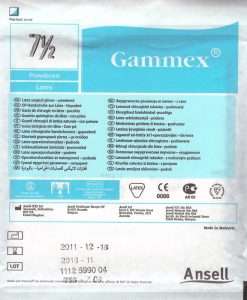 Gammex Sterile Surgical Glove Powdered Latex Size 7.5 pair. One pack
