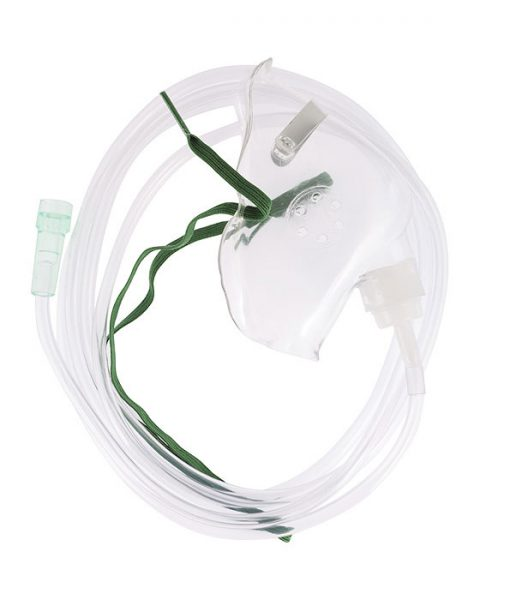 Adult oxygen mask with tubing